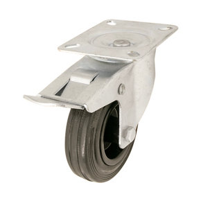 Image of Braked Heavy duty Swivel Castor (Dia)100mm (Max. Weight)75kg