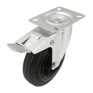 Image of Braked Heavy duty Swivel Castor (Dia)125mm (Max. Weight)100kg