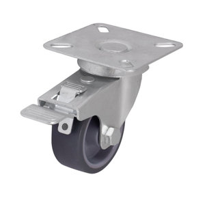 Image of Braked Light duty Swivel Castor (Dia)50mm (Max. Weight)30kg