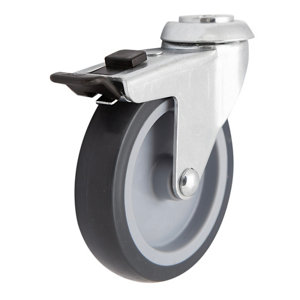 Image of Braked Heavy duty Swivel Castor WC71 (Dia)100mm (H)122.5mm (Max. Weight)70kg