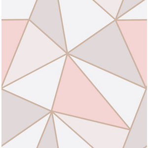 Image of Fine Décor Apex Geometric Rose gold effect Smooth Wallpaper