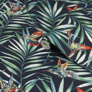 Image of Fresco Green & navy Hummingbird Smooth Wallpaper