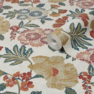Image of Boutique Berkeley Multicolour Floral Metallic effect Textured Wallpaper