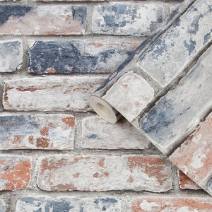 Image of Fresco Blue & red Brick Distressed effect Smooth Wallpaper