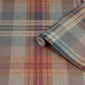 Image of Fresco Cosy Green & red Tartan Smooth Wallpaper