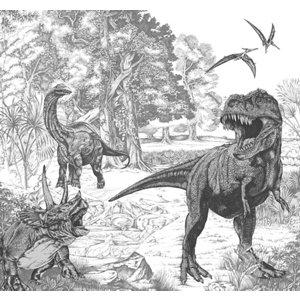Image of Art for the Home Black & white Sketched dinosaur Matt Mural