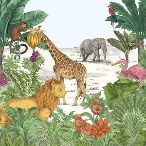 Image of Art for the Home Multicolour Watercolour jungle Matt Mural