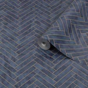 Image of Contour Navy Marble chevron Tile effect Textured Wallpaper
