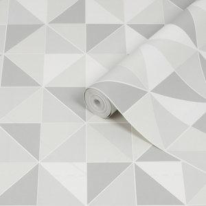 Image of Contour Grey & white Obelisk Tile effect Textured Wallpaper
