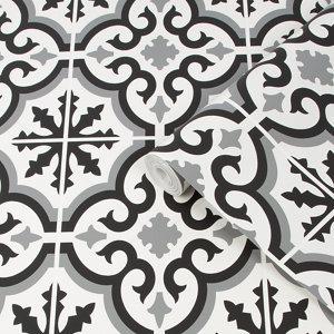 Image of Contour Grecian Black & white Tile effect Textured Wallpaper