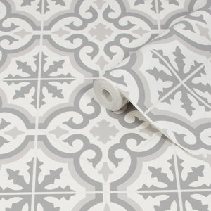 Image of Contour Grecian Grey Tile effect Textured Wallpaper