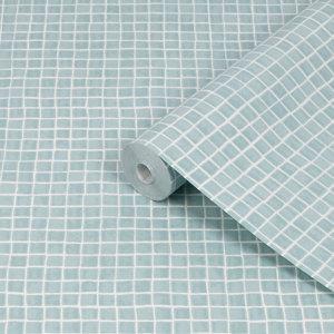 Image of Contour Spectrum Duck egg Mosaic Tile effect Textured Wallpaper