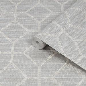 Image of Boutique Asscher Beige Geometric Textured Wallpaper