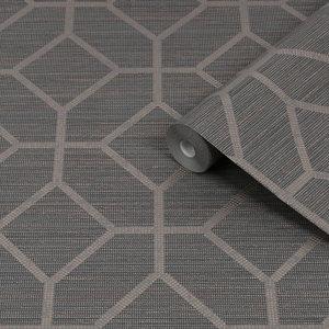 Image of Boutique Asscher Grey Geometric Bronze effect Textured Wallpaper