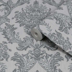 Image of Boutique Baroque Grey Damask Glitter effect Textured Wallpaper