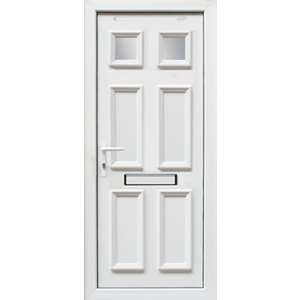 Image of 6 panel Frosted Glazed White uPVC RH External Front Door set (H)2055mm (W)840mm