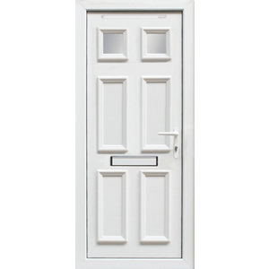 Image of 6 panel Frosted Glazed White uPVC LH External Front Door set (H)2055mm (W)920mm