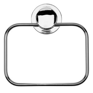 Image of Croydex Stick'n'Lock Plus Wall-mounted Chrome effect Towel ring (W)25mm