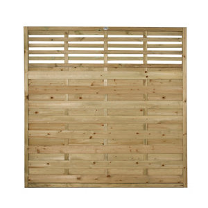 Forest Garden Contemporary Slatted Pressure treated Fence panel (W)1.8m (H)1.8m Pack of 3