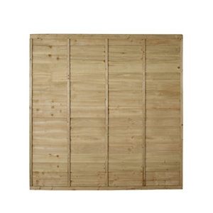 Premier Overlap Lap Pressure treated Fence panel (W)1.83m (H)1.83m Pack of 5
