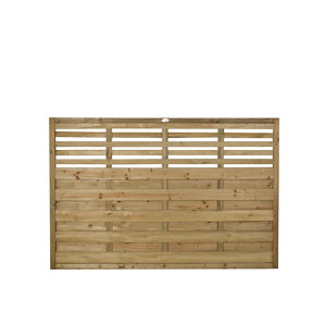 Forest Garden Contemporary Slatted Pressure treated Fence panel (W)1.8m (H)1.2m Pack of 3
