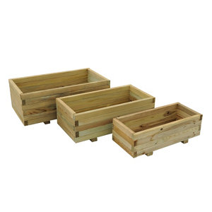 Image of Durham Wooden Rectangular Planter 90cm Pack of 3