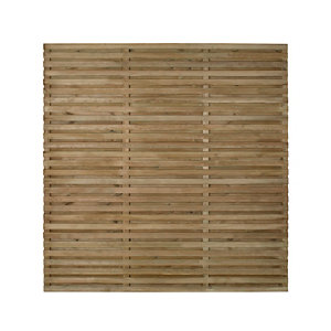 Contemporary Double slatted Fence panel (W)1.8m (H)1.8m Pack of 5