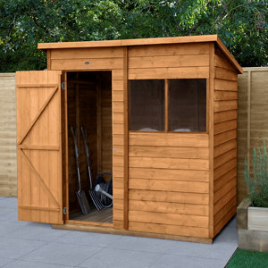 Image of Forest Garden 6x4 Pent Overlap Wooden Shed (Base included)