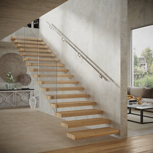 Image of Modern Polished Stainless steel Rounded Handrail kit (L)3.6m (W)40mm
