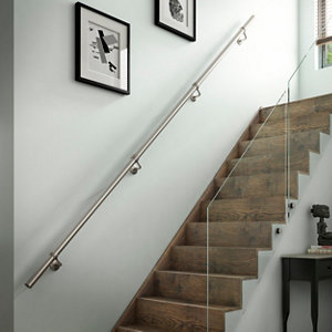 Image of Modern Brushed Stainless steel Rounded Handrail kit (L)3.6m (W)40mm