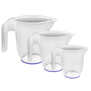 Image of Thumbs Up Sure grip Clear Polypropylene plastic Measuring jug Set of 3