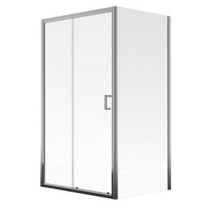 Image of Aqualux Edge 8 Clear glass 1 panel Semi-framed Sliding Shower Door (W)1000mm