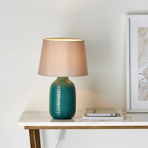 Image of Harbour Studio Elijah Ribbed Brushed Gloss Green Table light