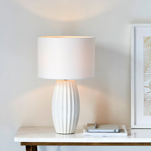 Image of Harbour Studio Tosan Ribbed crackle Ivory Chrome effect Table light