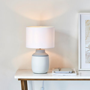 Image of Harbour Studio Fern Gloss White & grey Table light
