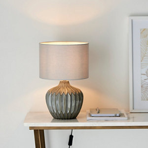 Image of Harbour Studio Iris Ribbed Matt Grey Table light