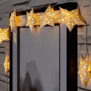 Paper star Battery-powered Warm white 10 LED Indoor String lights