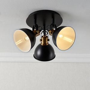 Image of Acrobat Matt Black Gold effect Mains-powered 3 lamp Spotlight