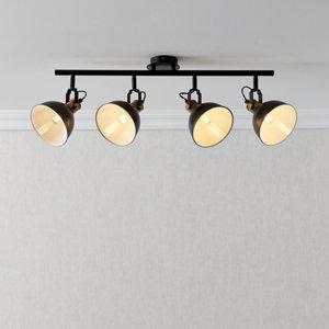 Image of Acrobat Matt Black Gold effect Mains-powered 4 lamp Spotlight bar
