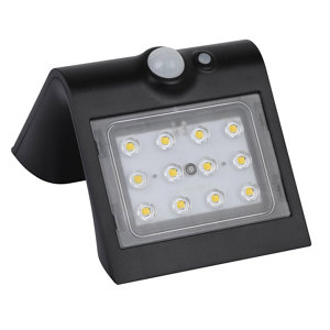 Image of Luceco Black Solar-powered Cool white LED Floodlight 220lm