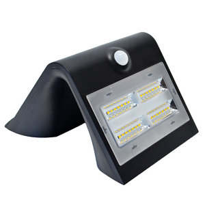Image of Luceco Black Solar-powered Cool white LED Floodlight 400lm