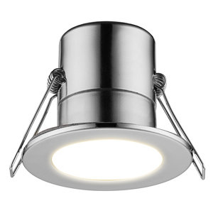 Image of Luceco Chrome effect Non-adjustable LED Fire-rated Warm white Downlight 5W IP65