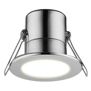 Image of Luceco Chrome effect Non-adjustable LED Fire-rated Cool white Downlight 5W IP65