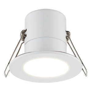 Luceco Matt White Non-adjustable LED Fire-rated Warm white Downlight 5W IP65 Pack of 6