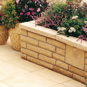 Pitched Buff Double-sided Walling stone (L)215mm (H)63mm (T)90mm
