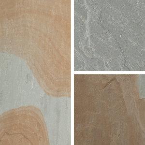 Natural Sandstone Rustic grey Paving slab (L)600mm (W)600mm