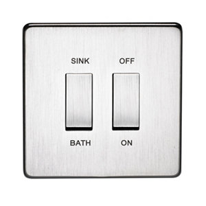 Image of Crabtree 20A Stainless steel effect Rocker Control switch