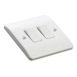 Image of MK 10A 2 way White Double Light Switch