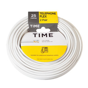 Time White 4 core Telephone cable  25m  Pack of 2