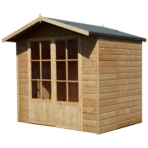 Shire Lumley 7x5 Toughened glass Apex Shiplap Wooden Summer house